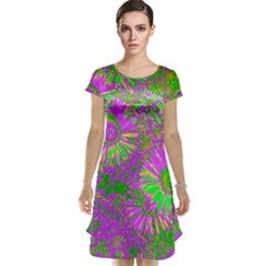 Amazing Neon Flowers A Cap Sleeve Nightdress