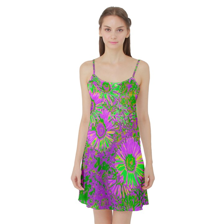 Amazing Neon Flowers A Satin Night Slip