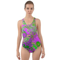 Amazing Neon Flowers A Cut Out Back One Piece Swimsuit