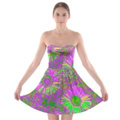 Amazing Neon Flowers A Strapless Bra Top Dress