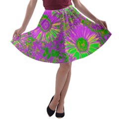 Amazing Neon Flowers A A Line Skater Skirt