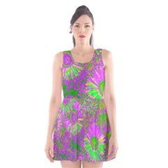 Amazing Neon Flowers A Scoop Neck Skater Dress