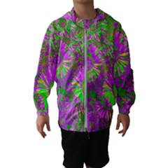 Amazing Neon Flowers A Hooded Wind Breaker (kids)
