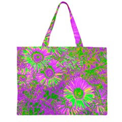 Amazing Neon Flowers A Zipper Large Tote Bag