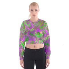 Amazing Neon Flowers A Cropped Sweatshirt