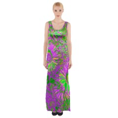 Amazing Neon Flowers A Maxi Thigh Split Dress