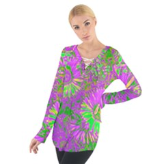 Amazing Neon Flowers A Tie Up Tee
