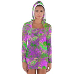 Amazing Neon Flowers A Long Sleeve Hooded T Shirt