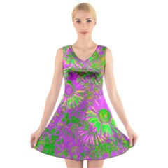 Amazing Neon Flowers A V Neck Sleeveless Skater Dress