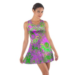 Amazing Neon Flowers A Cotton Racerback Dress