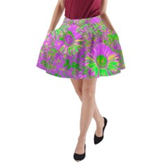 Amazing Neon Flowers A A Line Pocket Skirt