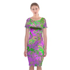 Amazing Neon Flowers A Classic Short Sleeve Midi Dress