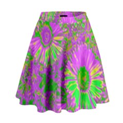 Amazing Neon Flowers A High Waist Skirt