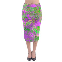 Amazing Neon Flowers A Midi Pencil Skirt
