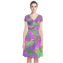Amazing Neon Flowers A Short Sleeve Front Wrap Dress