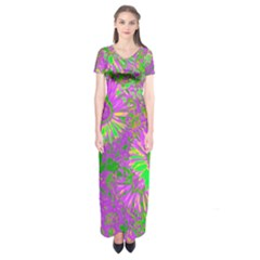 Amazing Neon Flowers A Short Sleeve Maxi Dress