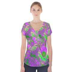 Amazing Neon Flowers A Short Sleeve Front Detail Top