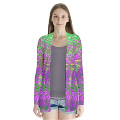Amazing Neon Flowers A Drape Collar Cardigan