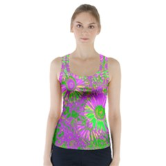 Amazing Neon Flowers A Racer Back Sports Top