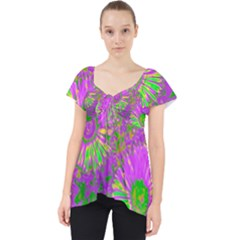 Amazing Neon Flowers A Lace Front Dolly Top