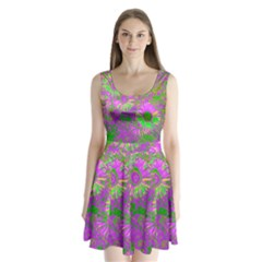 Amazing Neon Flowers A Split Back Mini Dress