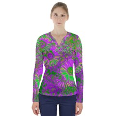 Amazing Neon Flowers A V Neck Long Sleeve Top
