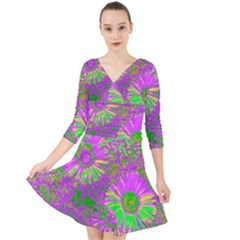 Amazing Neon Flowers A Quarter Sleeve Front Wrap Dress