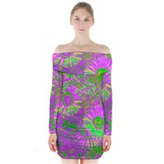 Amazing Neon Flowers A Long Sleeve Off Shoulder Dress