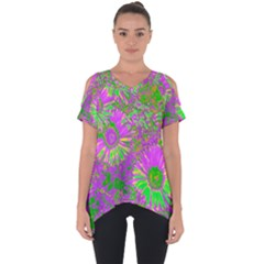 Amazing Neon Flowers A Cut Out Side Drop Tee