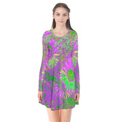 Amazing Neon Flowers A Flare Dress