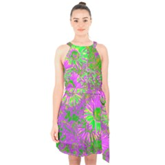 Amazing Neon Flowers A Halter Collar Waist Tie Chiffon Dress