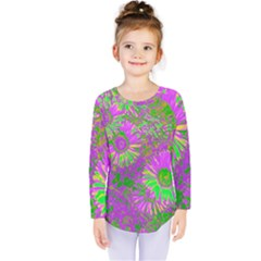 Amazing Neon Flowers A Kids  Long Sleeve Tee