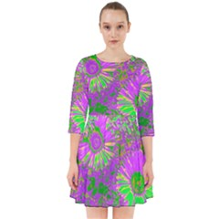 Amazing Neon Flowers A Smock Dress