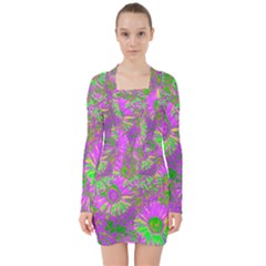 Amazing Neon Flowers A V Neck Bodycon Long Sleeve Dress