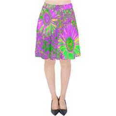 Amazing Neon Flowers A Velvet High Waist Skirt