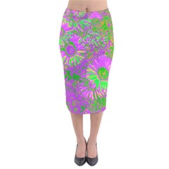 Amazing Neon Flowers A Velvet Midi Pencil Skirt
