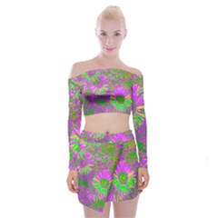 Amazing Neon Flowers A Off Shoulder Top With Mini Skirt Set