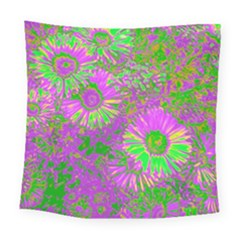 Amazing Neon Flowers A Square Tapestry (large)