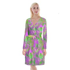 Amazing Neon Flowers A Long Sleeve Velvet Front Wrap Dress