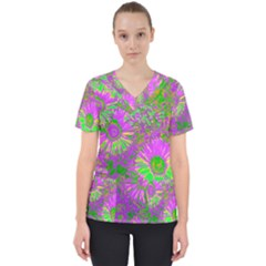 Amazing Neon Flowers A Scrub Top