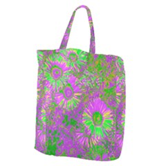 Amazing Neon Flowers A Giant Grocery Zipper Tote