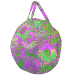 Amazing Neon Flowers A Giant Round Zipper Tote