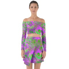 Amazing Neon Flowers A Off Shoulder Top With Skirt Set
