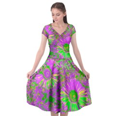 Amazing Neon Flowers A Cap Sleeve Wrap Front Dress
