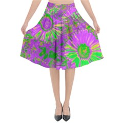 Amazing Neon Flowers A Flared Midi Skirt