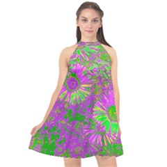 Amazing Neon Flowers A Halter Neckline Chiffon Dress