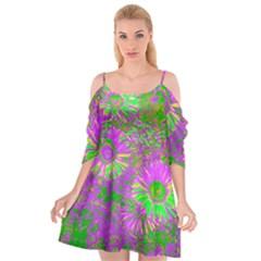 Amazing Neon Flowers A Cutout Spaghetti Strap Chiffon Dress
