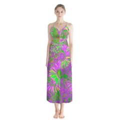 Amazing Neon Flowers A Button Up Chiffon Maxi Dress
