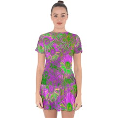 Amazing Neon Flowers A Drop Hem Mini Chiffon Dress