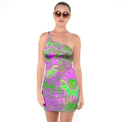 Amazing Neon Flowers A One Soulder Bodycon Dress